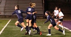 Stephenville celebrates its opening goal by Ciara Johnston in a 2-0 blanking of Granbury Wednesday at Johnny Perkins Field. || TheFlashToday.com photo by BRAD KEITH