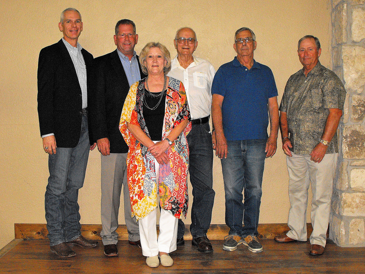 Stafford Retirement Cindy with current and past mayors of Stephenville