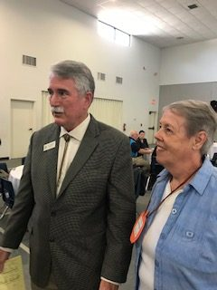 Judith Meador, TRTA Dist 15 2nd Vice President from Stephenville talks with Dist 59 Texas Representative J. D. Sheffield