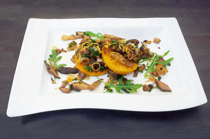 Mushrooms on Butternut Polenta Galettes
