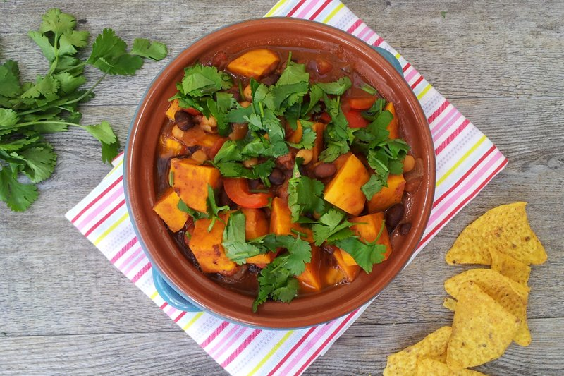 sweet potato black bean chickpea chili vegan