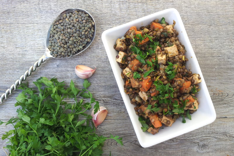 Warm Lentil Salad With Smoked Tofu [vegan] by The Flexitarian