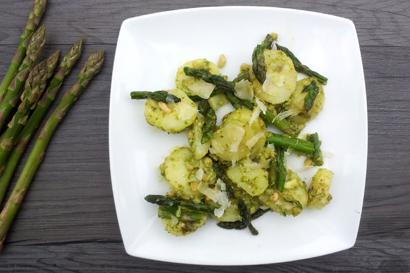 Asparagus & New Potato Salad In Caper Pesto Dressing [vegan]
