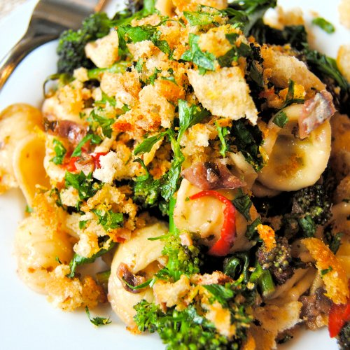 Orecchiette with Purple Sprouting Broccoli and Chili-Lemon Pangritata [flexitarian] by Food to Glow