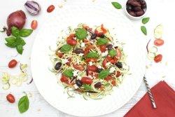Mediterranean Spiralized Courgette Salad [vegetarian] [gluten free] by The Flexitarian