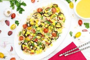 Roasted Aubergine Saffron Salad [vegetarian] by The Flexitarian