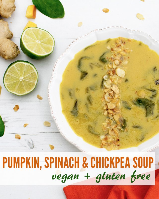 Pumpkin, Spinach & Chickpea Soup [vegan] [gluten free]width=