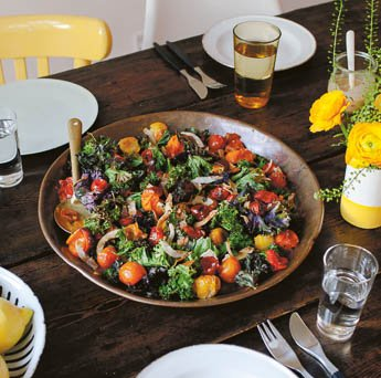 A Warm Salad of Roasted Kale, Coconut & Tomatoes
