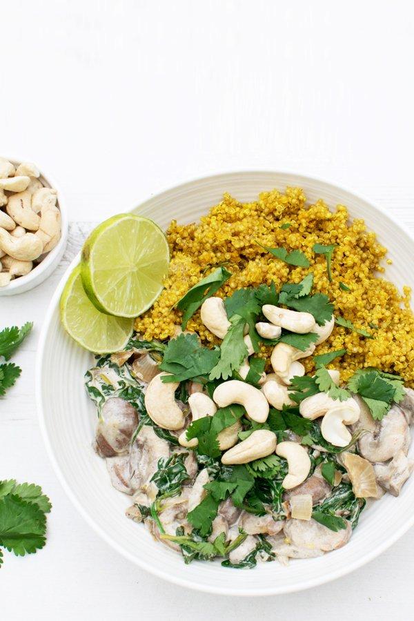 Creamy Mushrooms & Spinach with Turmeric Quinoa [vegan] [gluten free] by The Flexitarian