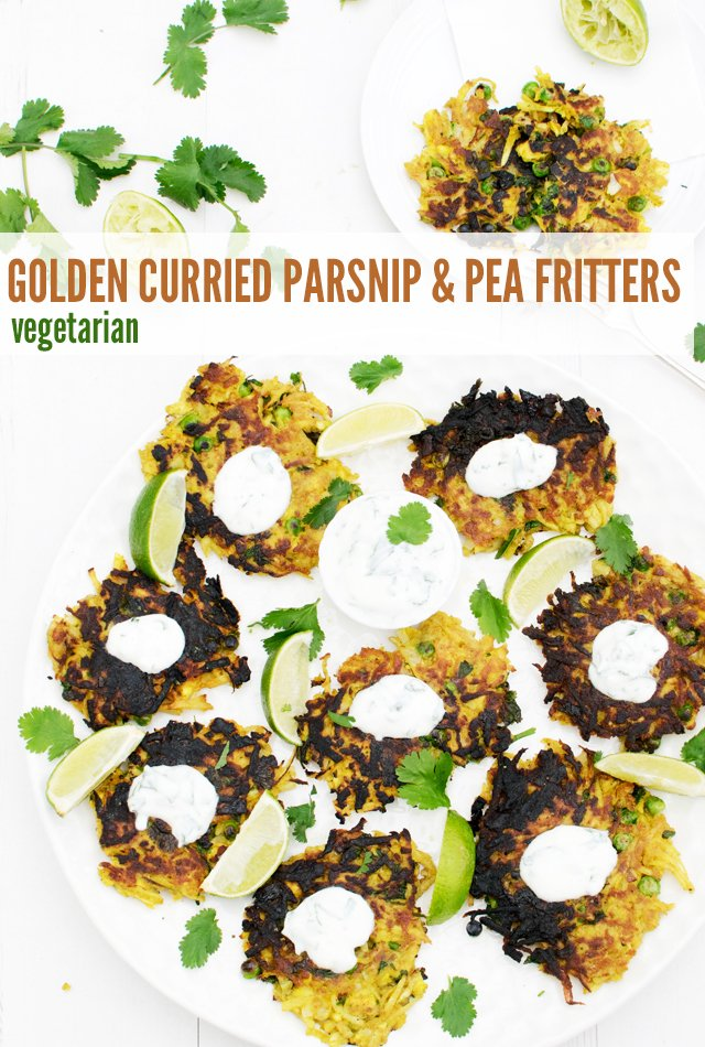 Golden Curried Parsnip & Pea Fritters [vegetarian] by The Flexitarian