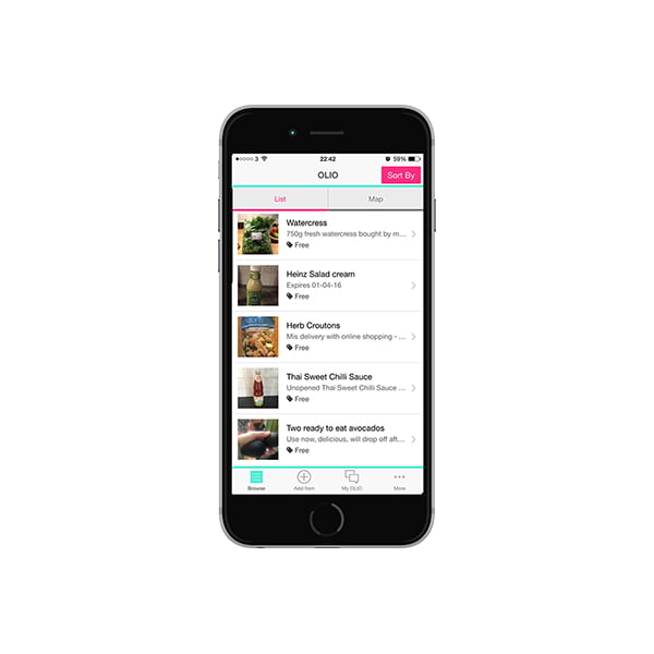 Olio App screen