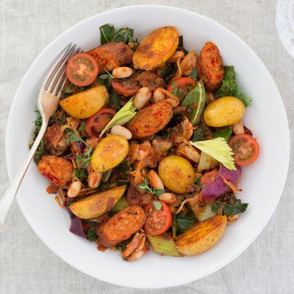 Warm Catalan Salad With Vegetarian Chorizo (picture & courtesy of Linda Mc Cartney's)