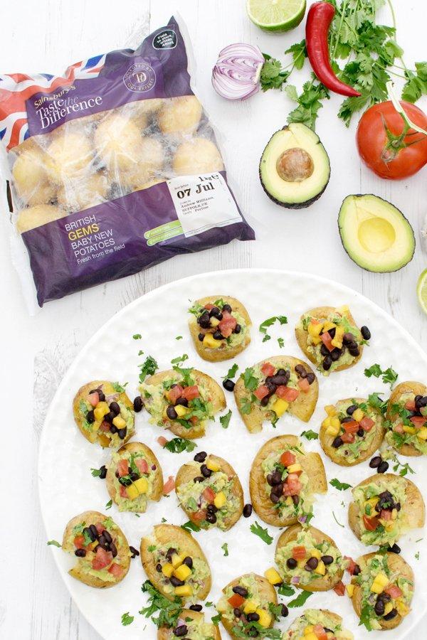 Crushed British Gems Baby New Potatoes with Black Bean Salsa & Guacamole [vegan] [gluten free] by The Flexitarian
