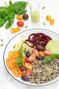 Super Healthy Summer Salad Bowl with Creamy Avocado Basil Dressing [vegan] by The Flexitarian