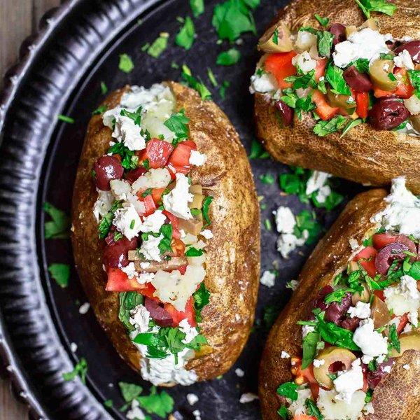 Mediterranean Loaded Baked Potato Recipe [vegetarian] by The Mediterranean Dish