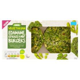 Asda Vegetarian & Vegan 2 Edamame, Asparagus & Mint Burgers