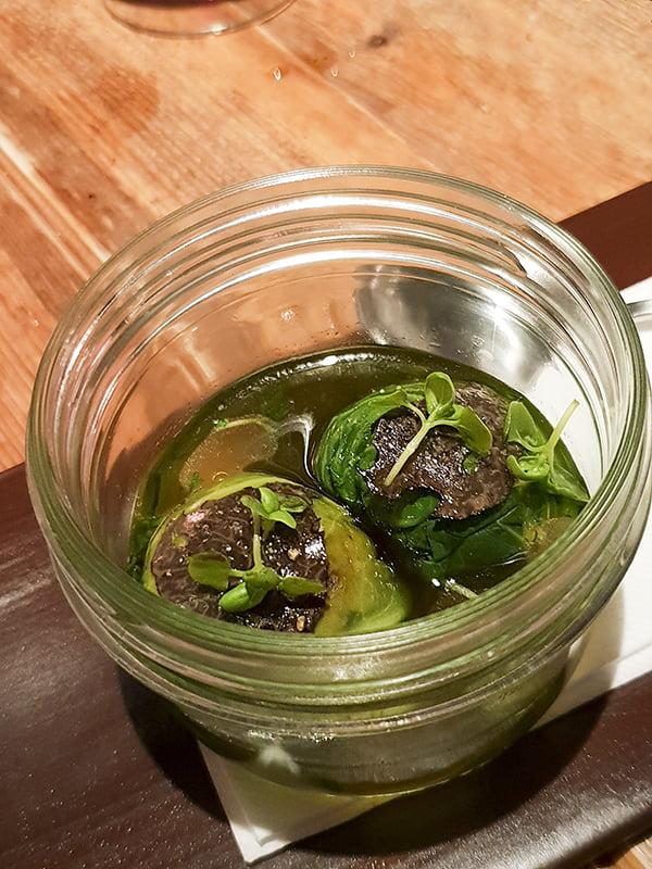 Bōkan's Vegan Tasting Menu Truffle & dashi broth, organic cabbage