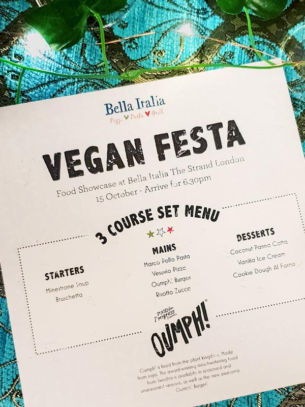 Bella Italia New Vegan Menu