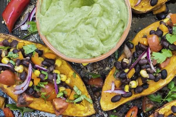 Baked Sweet Potatoes with Black Bean Salsa © The Flexitarian