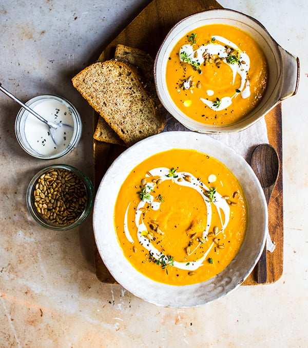Creamy Sweet Potato Soup recipe from Be More Vegan by Niki Webster