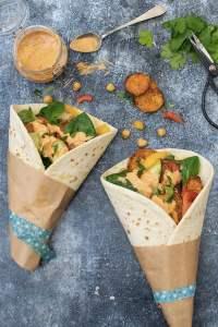 Sweet Potato Wraps with Tahini Harissa Dressing [vegan] © The Flexitarian