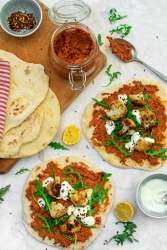 Roasted Cauliflower Flatbreads with Muhammara Dip [vegan]
