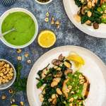 Roasted Celeriac Steaks with Green Tahini Sauce [vegan] [gluten free]