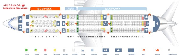 Air Canada Seat Map Boeing 787 9 Dreamliner