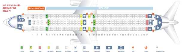 Seat Map Air Canada Boeing 767 300 Rouge Version 1