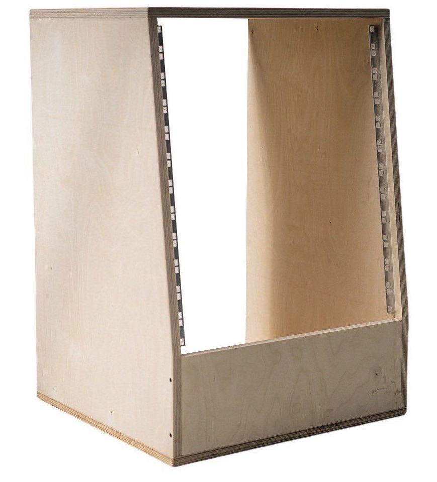 12u angled 19 inch wooden studio rack 500mm deep