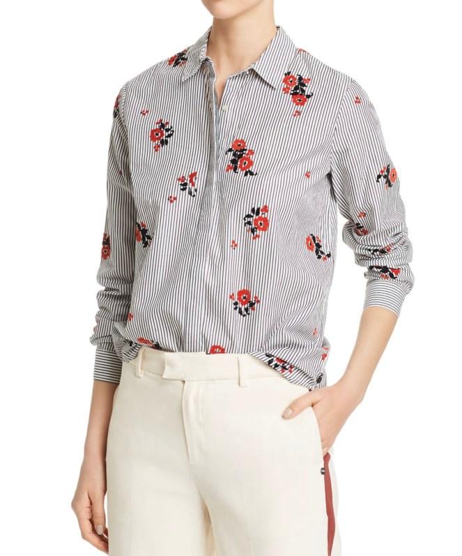 scotch & soda flocked velvet floral & striped shirt chic shirt workwear