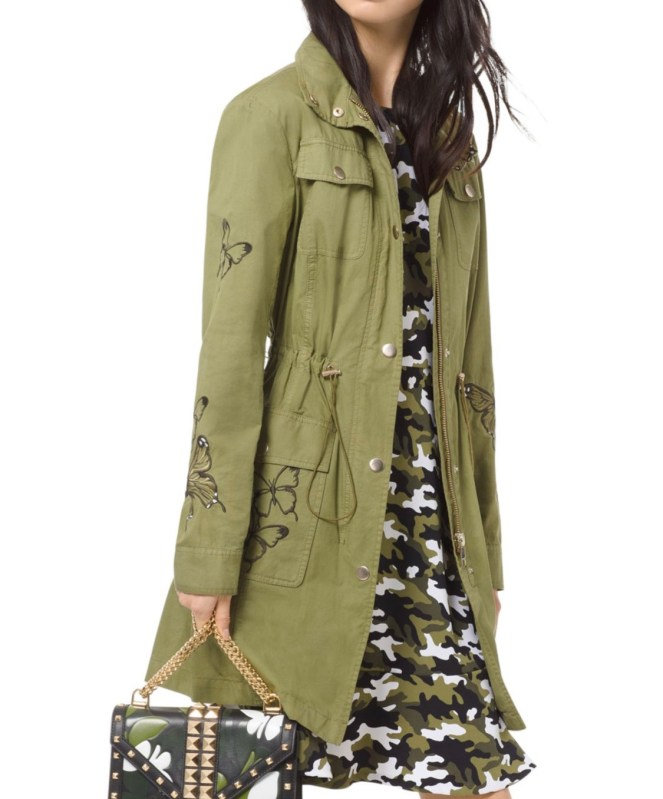 michael kors butterfly embroidered cargo jacket feminine military jacket green utility