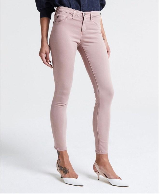 AG legging sateen skinny jeans sulfur pale wisteria spring jeans