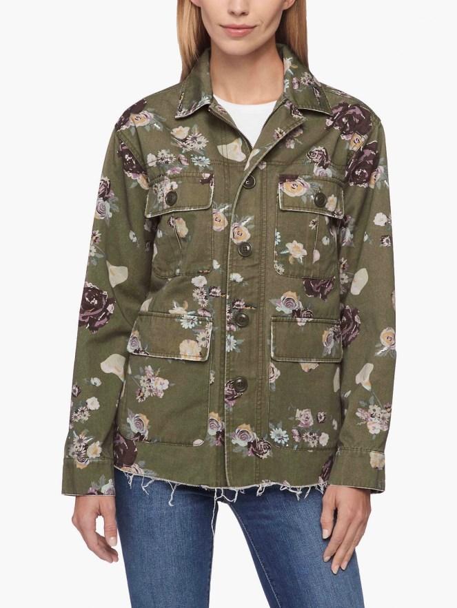 levi levis levi's floral surplus utility cargo jacket green feminine military style