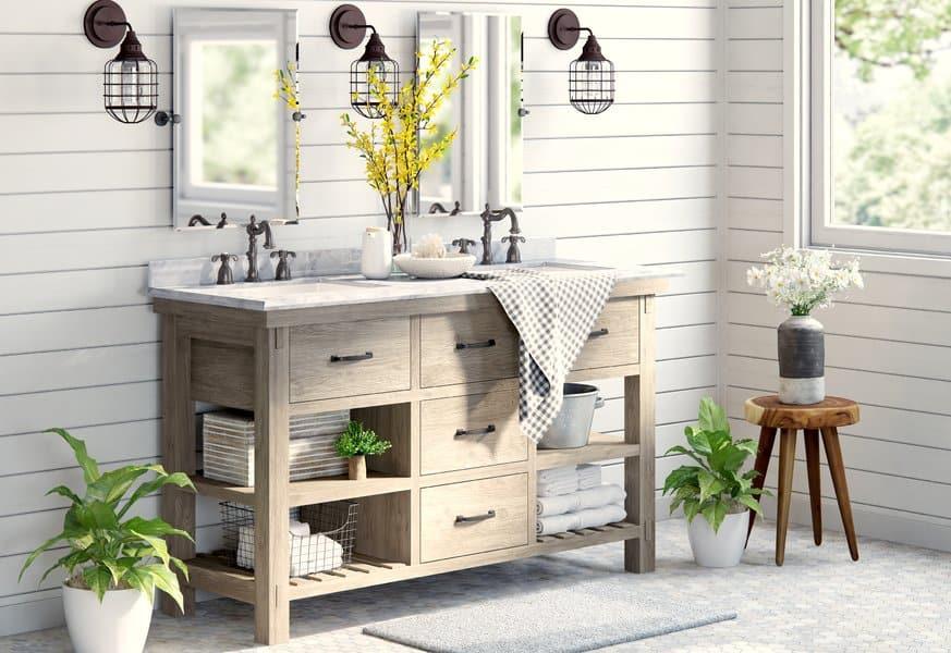 21 Modern Farmhouse Style Bathrooms for a Rustic Shabby ... on Rustic Farmhouse Bathroom  id=51954