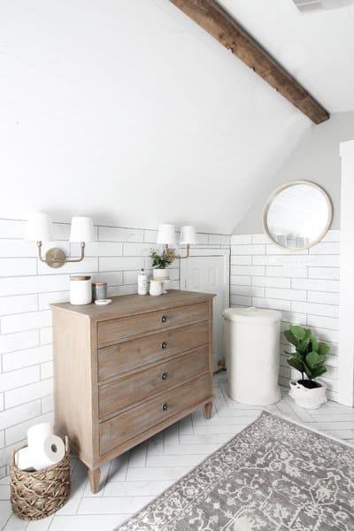 21 Modern Farmhouse Style Bathrooms for a Rustic Shabby ... on Rustic Farmhouse Bathroom Tile  id=89622