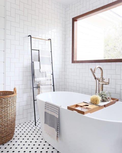 21 Modern Farmhouse Style Bathrooms for a Rustic Shabby ... on Farmhouse Bathroom Tile  id=51792