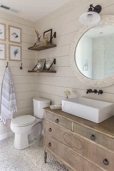 21 Modern Farmhouse Style Bathrooms for a Rustic Shabby ... on Rustic Farmhouse Bathroom Tile  id=34621