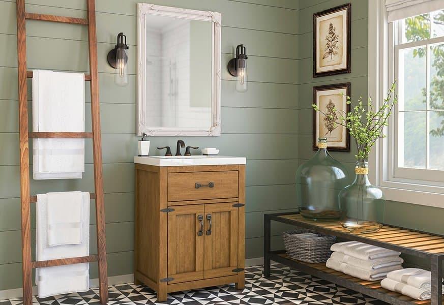 21 Modern Farmhouse Style Bathrooms for a Rustic Shabby ... on Rustic Farmhouse Farmhouse Bathroom  id=73560
