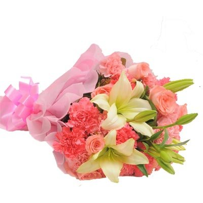 Product Detail- The FloralMart® Mother's Day Special Fresh Flowers Bunch of 10 Pink Roses, 20 Pink Carnations with 03 Lilies. Flowers are very impactful as gifts for any occasion, and leave an everlasting mark on the heart. Send flowers to your dear ones as a mother's day gift and surprise them to the core. Love is the most beautiful emotion and Flowers are the most charming creation of God. Combine both these beautiful existences of the world and gift these flowers of love on your special days for your loved ones. The flower arrangements of seasonal fillers are incredible. Get these flowers at the most nominal price range only at The FloralMart. Book these flowers with The FloralMart as your florist today. Whenever you want to express your feelings towards someone, sending flowers would be the best way to do it. Flowers convey unsaid words. At times, only words are not sufficient or you don't find words to convey what you want. The flower contains the magical powers that help to express your intrinsic feeling in a very subtle manner. Express your feeling with The FloralMart's large range of Floral Arrangements / Floral Gifts which will surely bring a smile to your loved ones. Be it any occasion Birthday, Anniversary, Marriage, Rakhi, Valentine's Day, Mother's Day, Father's Day, Friendship Day, Miss You, New Year, Diwali, Holi, Christmas Day, Republic Day, Independence Day, Teacher's Day, Children's Day, Doctor's Day, Date, Parties, Secret Gifts, Secret Santa or any occasion. This is the most beautiful way to surprise your loved ones. We have a huge range of Gifts for Birthday, Gifts for Anniversary, Gifts for Marriage, Gifts for Rakhi, Gifts for Valentine's Day, Gifts for Mother's Day, Gifts for Father's Day, Gifts for Friendship Day, Gifts for Miss You, Gifts for New Year, Gifts for Diwali, Gifts for Holi, Gifts for Christmas Day, Gifts for Republic Day, Gifts for Independence Day, Gifts for Teacher's Day, Gifts for Children's Day, Gifts for Doctor's Day, Gifts for Date, Gifts for Parties, Secret Gifts, Secret Santa or any occasion.