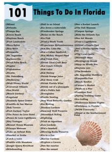 101 things to do in Florida bucket lsit