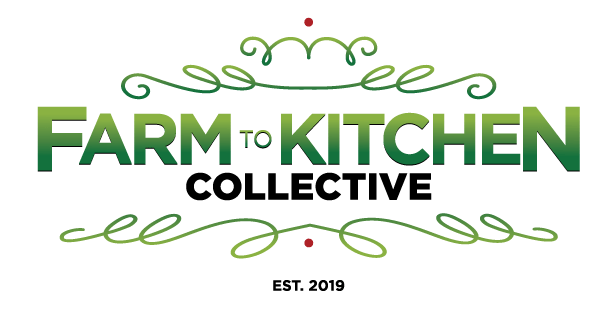 This is the Farm to Kitchen Logo in green, black and a touch of red.
