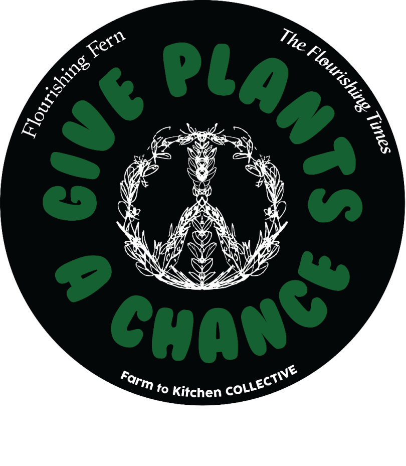 This is a sticker that we sell for $5. It is black with a hand-scribbled flower peace sign, a black background and Give Plants a Chance in green letters. The sticker also mentions Flourishing Fern, The Flourishing Times and the Farm to Kitchen Collective.