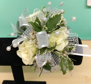 Prom Corsage Green and White
