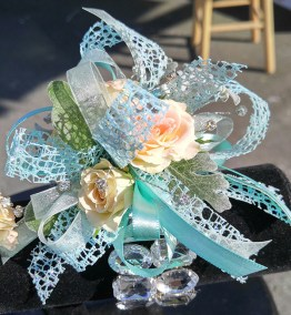 Prom Corsage Teal Peach Flowers