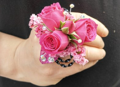 Prom Hot Pink Flower Design