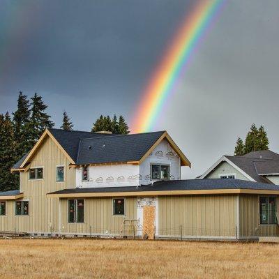 A Double Rainbow Over Our Modern Farmhouse