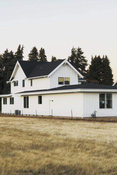 exterior view of modern farmhouse