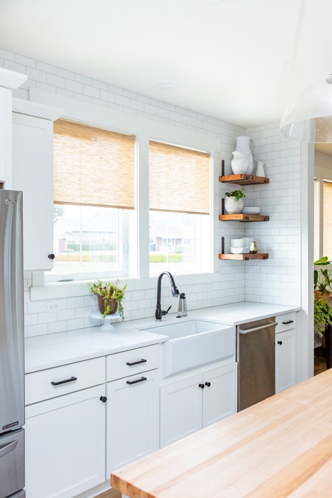 kitchen windows with roller shades