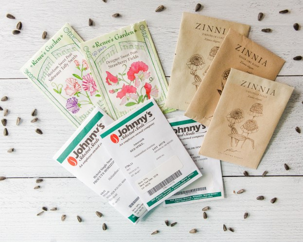 photo of flower seed packets for cutting garden